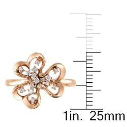 Miadora 14k Pink Gold 1/10ct TDW White Diamond Ring - Thumbnail 2