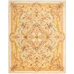Safavieh Handmade Aubusson Creteil Beige/ Light Gold Wool Rug (9'6 x 13'6)