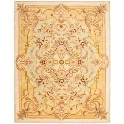 Safavieh Handmade Aubusson Creteil Beige/ Light Gold Wool Rug - 9'6 x 13'6 - Thumbnail 0
