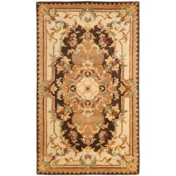 Safavieh Handmade Aubusson Creteil Brown/ Beige Wool Rug (3' x 5')