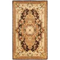 Safavieh Handmade Aubusson Creteil Brown/ Beige Wool Rug - 3' x 5'
