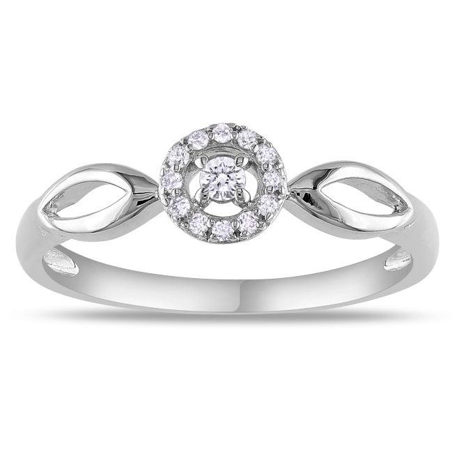 Miadora Sterling Sliver 1/10ct TDW Diamond Ring