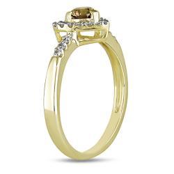 Miadora 14k Yellow Gold 1/2ct TDW Brown and White Diamond Heart Ring - Thumbnail 1