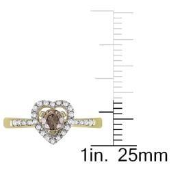 Miadora 14k Yellow Gold 1/2ct TDW Brown and White Diamond Heart Ring - Thumbnail 2