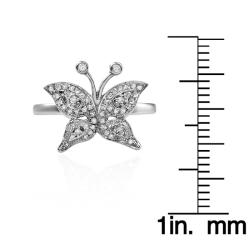 10k White Gold 1/5ct TDW White Diamond Butterfly Ring (Size 7.25)