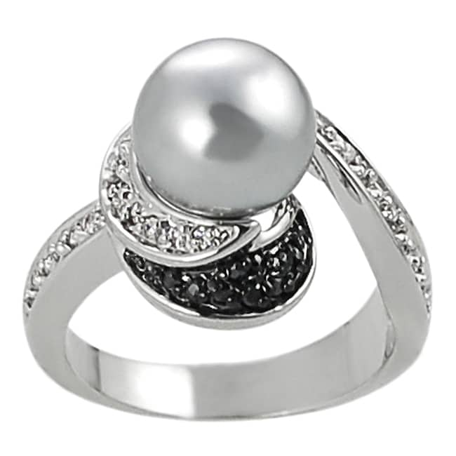 Silvertone Gray Faux Pearl, Black and White Cubic Zirconia Ring