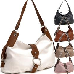 Two-tone Ring Front Flap with Magnet Hobo - Thumbnail 1