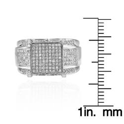 Sterling Silver 9/10ct TDW White Diamond Ring (Size 7.25) - Thumbnail 2