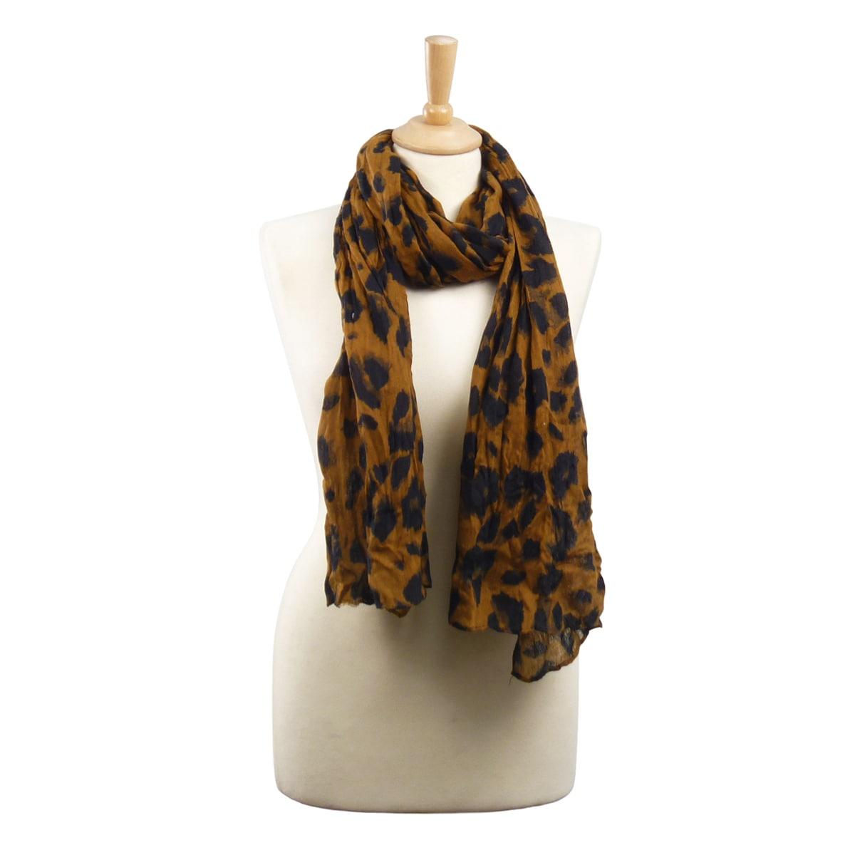 LA77 Brown Leopard Print Scarf