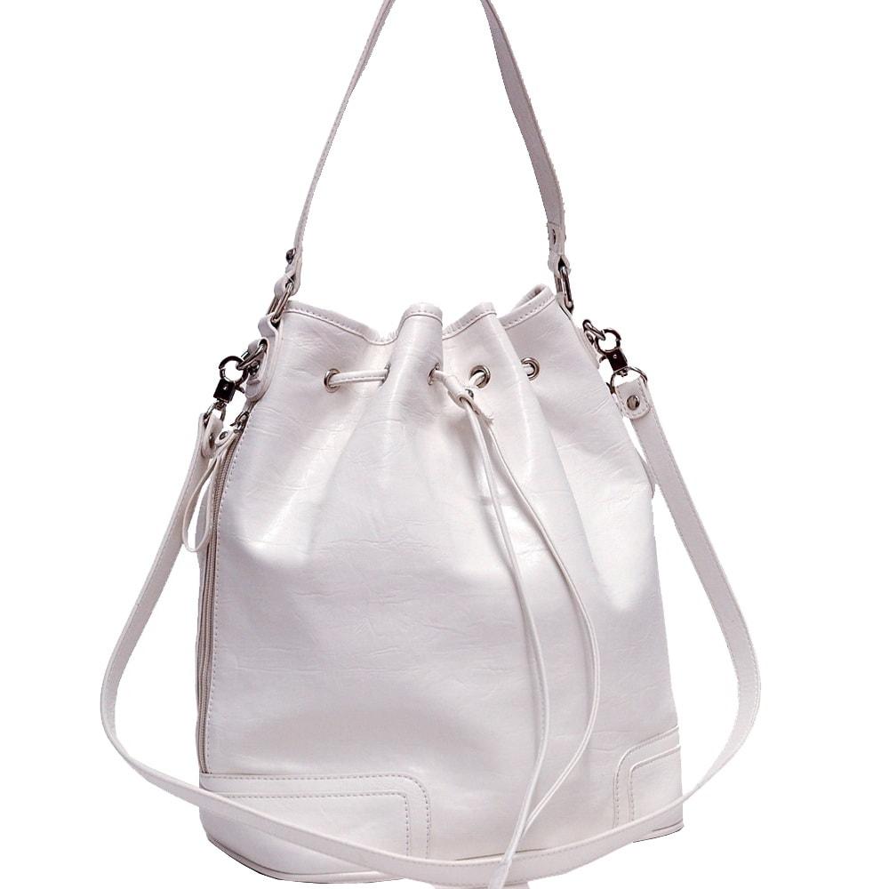 Dasein White Faux Leather Tall Drawstring Hobo Bag