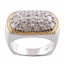 Michael Valitutti 14k Gold and Silver Pave Cubic Zirconia Ring