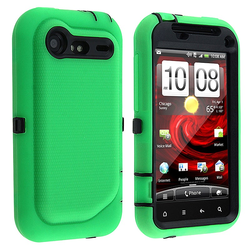 Black/ Green Hybrid Case for HTC Droid Incredible 2