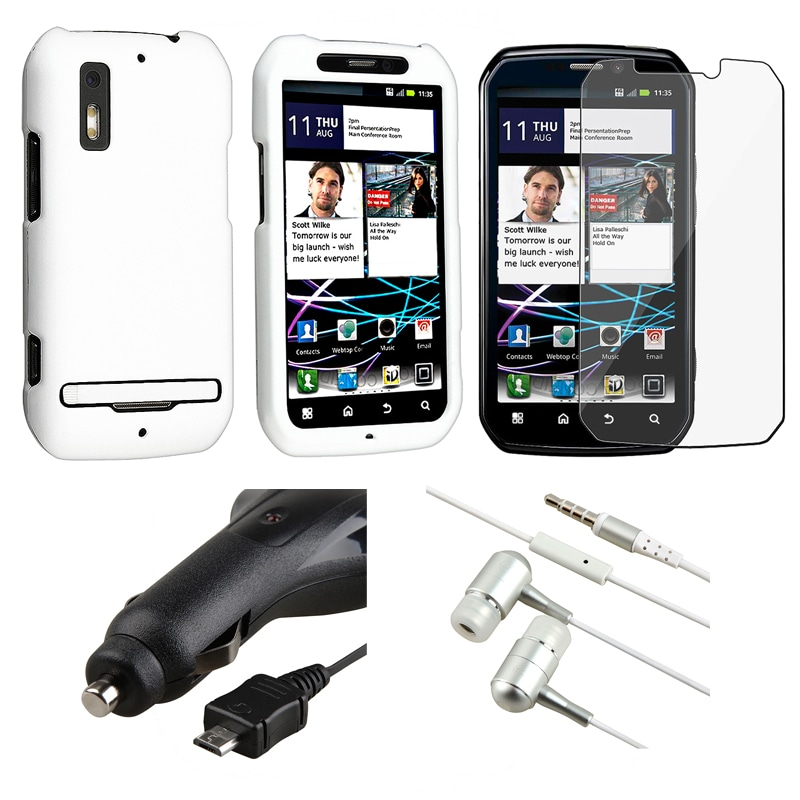 White Case/ Headset/ Car Charger for Motorola MB855 Photon 4G