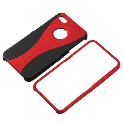 Red/ Black Cup Shape Snap-on Case for Apple iPhone 4 - Thumbnail 1