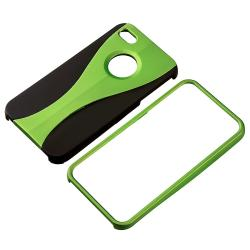 Green/ Black Cup Shape Snap-on Case for Apple iPhone 4 - Thumbnail 1