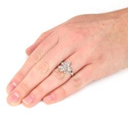 Silvertone Cubic Zirconia Accent Fleur de Lis Ring