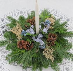 Fresh Balsam Wreath One Candle Centerpiece - Thumbnail 1