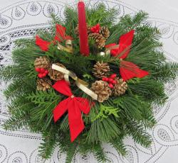 Fresh Balsam Wreath One Candle Centerpiece - Thumbnail 2