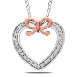 Miadora Silver and Pink Gold 1/8ct TDW Diamond Heart Necklace