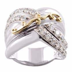 Michael Valitutti 14k Gold and Silver Cubic Zirconia Ring|https://ak1.ostkcdn.com/images/products/78/260/P14001134.jpg?impolicy=medium