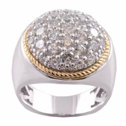 Michael Valitutti 14k Gold and Silver Cubic Zirconia Ring