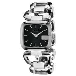 Gucci Women's 'G-Gucci' Stainless Steel Black Face Watch|https://ak1.ostkcdn.com/images/products/78/266/P13963549.jpg?impolicy=medium
