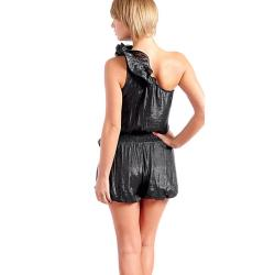Stanzino Women's Metallic Black Ruffled One Shoulder Romper