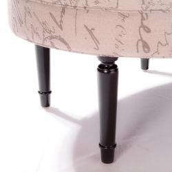 Oval Script Tufted Linen Ottoman