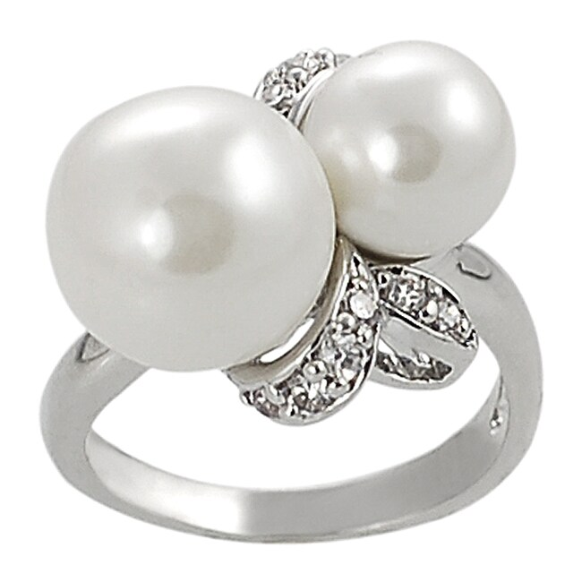 Silvertone Cubic Zirconia Faux Pearl Ring