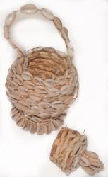 White Cowrie Shell Wicker Basket (Ethiopia) - Thumbnail 2