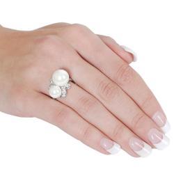 Silvertone Cubic Zirconia Faux Pearl Ring - Thumbnail 2