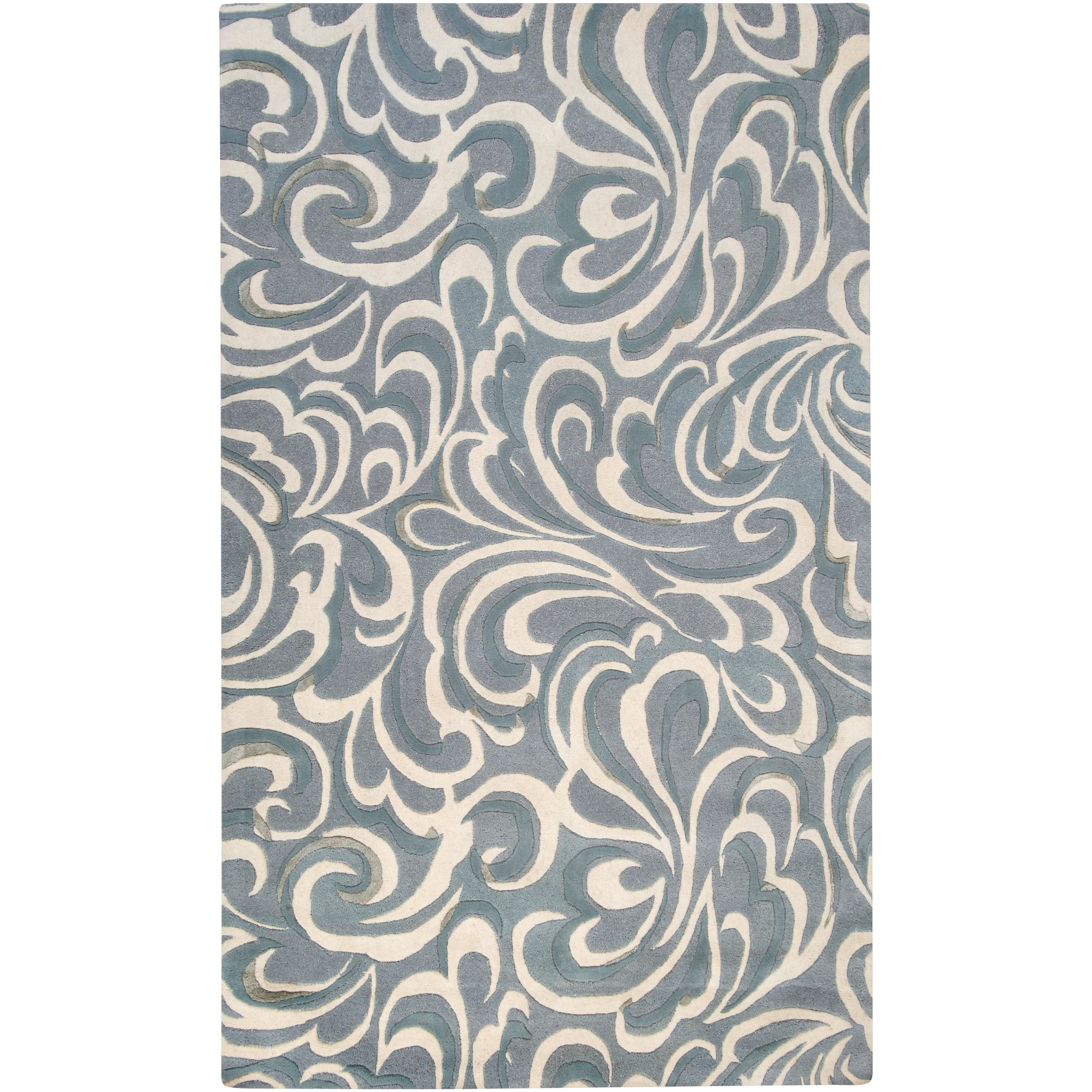 Candice Olson Hand-tufted Contemporary Blue/ Abstract Samnaun New Zealand Wool Abstract Rug (3'3 x 5'3)