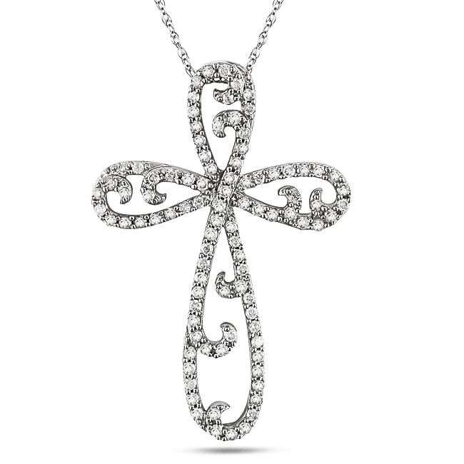 Miadora 10k White Gold 3/5ct TDW Diamond Religious Necklace (G-H, I2)