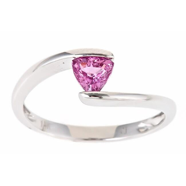 D'Yach 14k White Gold Trillion-cut Pink Ceylon Sapphire Ring