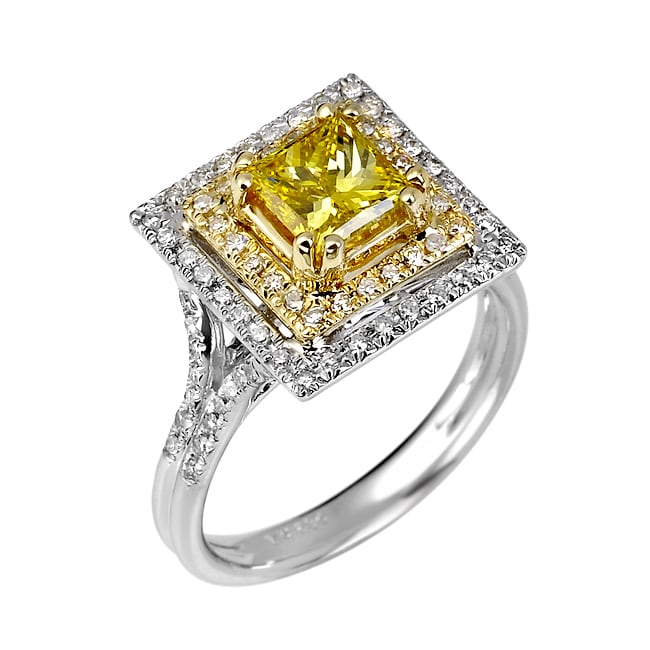 14k White Gold 1 2/5ct TDW Certified Yellow and White Diamond Halo Ring