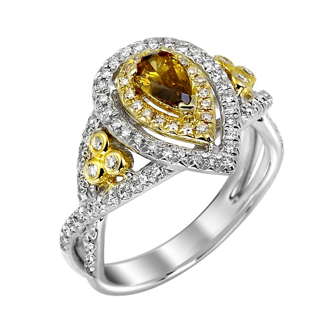 14k White Gold 3/4ct TDW Orange and White Diamond Ring (G, SI2)