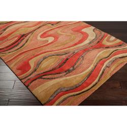Candice Olson Hand-tufted Contemporary Red/Brown Striped Taurus New Zealand Wool Abstract Rug (9' x 13') - Thumbnail 1