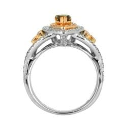14k White Gold 4/5ct TDW Brown and White Diamond Halo Ring (G, SI2) - Thumbnail 1