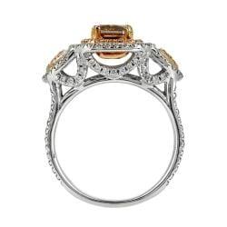 18k White Gold 1 7/8ct TDW Certified Brown and White Diamond Halo Ring (G, SI2) - Thumbnail 1