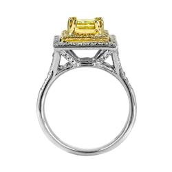 14k White Gold 1 2/5ct TDW Certified Yellow and White Diamond Halo Ring - Thumbnail 1
