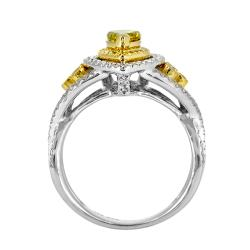 14k White Gold 4/5ct TDW Yellow and White Diamond Halo Ring (G, SI2) - Thumbnail 1