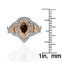 14k White Gold 4/5ct TDW Brown and White Diamond Halo Ring (G, SI2) - Thumbnail 2