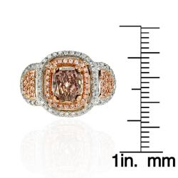 18k White Gold 1 7/8ct TDW Certified Brown and White Diamond Halo Ring (G, SI2)