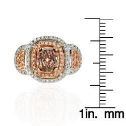 18k White Gold 1 7/8ct TDW Certified Brown and White Diamond Halo Ring (G, SI2) - Thumbnail 2