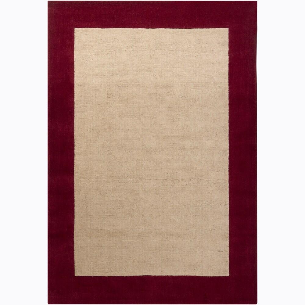 Hand-woven Mandara Red Border Rug (5' x 7'6)