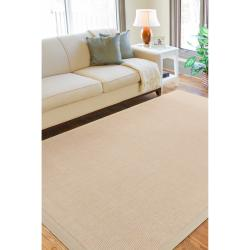 Hand-woven Maryport Natural Jute Rug w/Ivory Cotton Border (7'6 x 9'6)