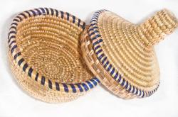 Purple Border Round Wicker Basket (Ethiopia)