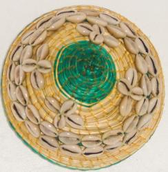 Cowrie Shell Green Round Wicker Basket (Ethiopia)