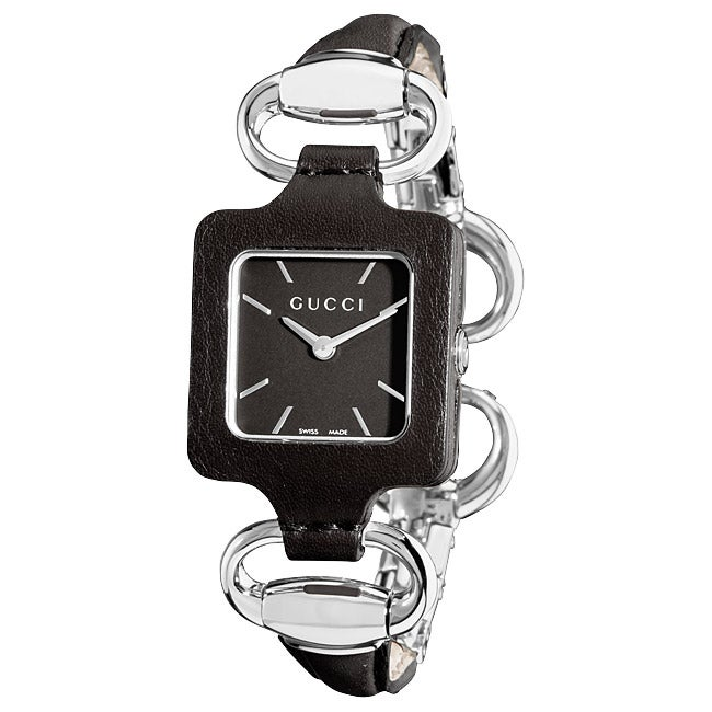1f9b174f28a Shop Gucci Women s  1921  Bangle Style Black Leather Watch - Free Shipping  Today - Overstock - 6345274