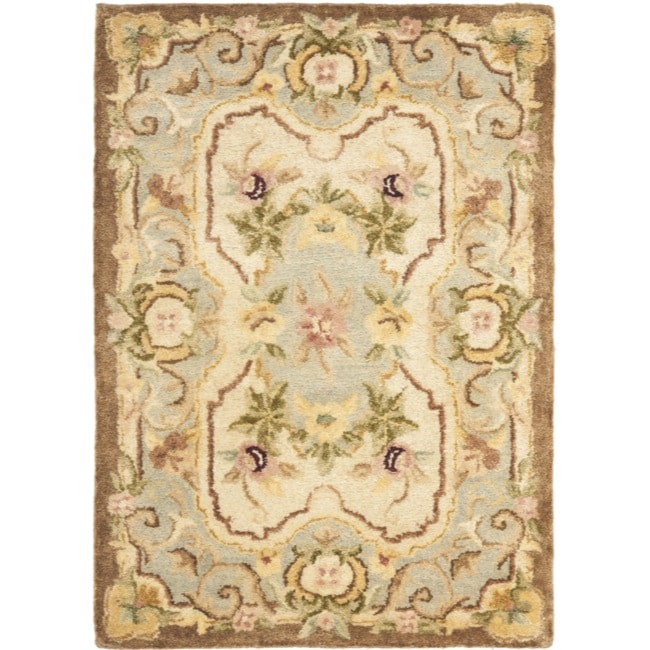 Safavieh Handmade Aubusson Plaisir Ivory/ Light Blue Wool Rug (2' x 3')